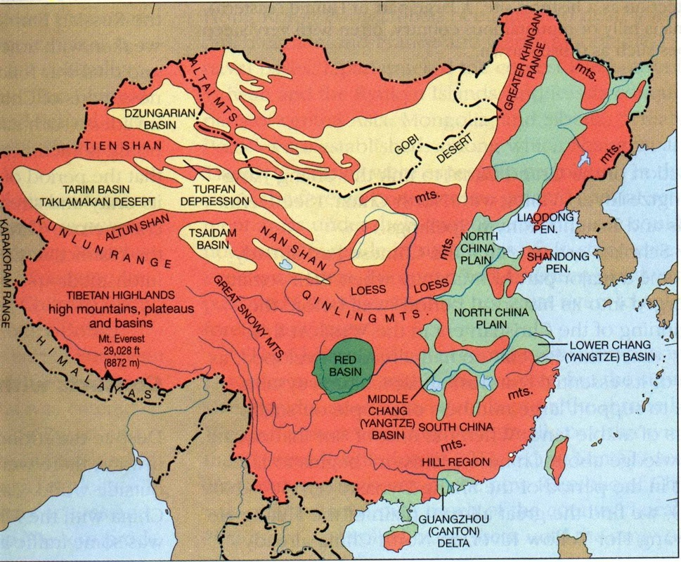 Physical map china climate chinas climate ranges from desert to tropical to subarctic major rivers the major rivers in china are the yangtse river the yellow river gumiabroncs Gallery